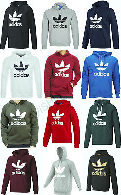 Men`s Original Adidas Trefoil Fleece HOODIE Fleece Sweatshirt Pullover Jumper