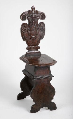 Italian Baroque Carved Walnut Sgabello Side Chair