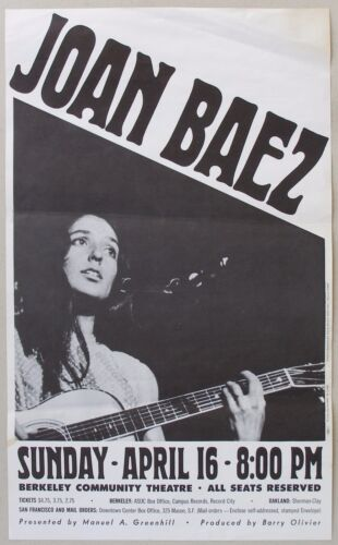 JOAN BAEZ Concert Poster, Berkeley Community Theater, April 16, 1967