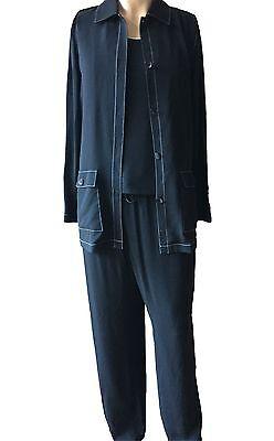 Black Three Piece Pant - Dana Buchman Women's Black Three-Piece Pant Suit