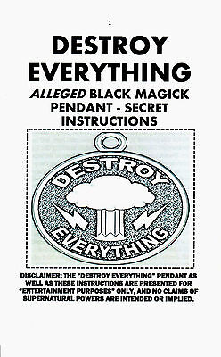 DESTROY EVERYTHING PENDANT W/ FREE CORD, SECRET INSTRUCTIONS black magic occult