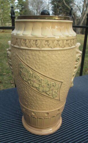 Antique Large Embossed Gold Gilt Ceramic Jar Canister w Holes #19 Garlic Keeper?