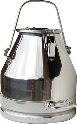 5 Gal. Milk Can Tote Bail Handle Stainless Steel 20 Qt. Heavy Duty Sealed Lid