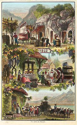 BÖTTCHER & WEINBAUER - Der Herbst am Oberrhein - kolorierter Holzstich 1862