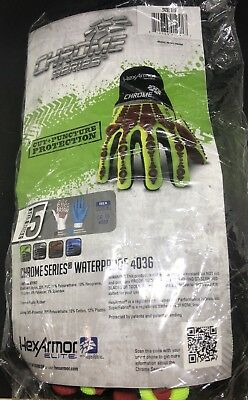 Hexarmor 4036 Chrome Hi-vis Waterproof L5 Cut Resistance Work Gloves Small