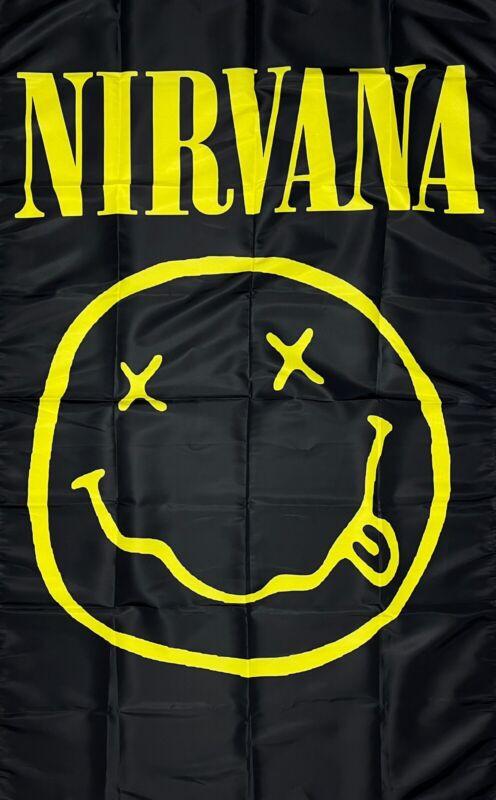 Nirvana Flag 3x5 ft Banner Rock Grunge Music Band Kurt Cobain Man-Cave Garage