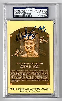WADE BOGGS Signed Hall of Fame Plaque Postcard PSA/DNA Slabbed Autograph Auto