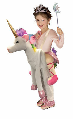 Ride On Unicorn Magical Animal Costume Kids Girls Princess Halloween Dress-Up