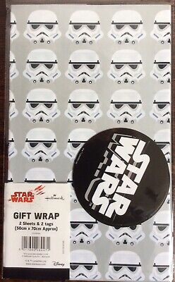 DISNEY STAR WARS STORMTROOPER PRESENT GIFT WRAPPING PAPER 2 SHEET 2 TAG BIRTHDAY