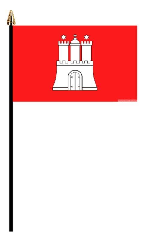 "HAMBURG GERMAN PACK OF 12 SMALL HAND FLAGS flag 6""x4"" GERMANY"