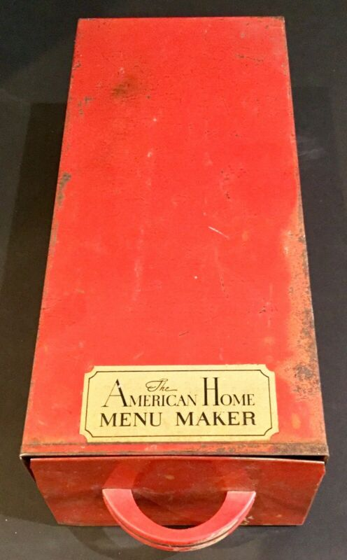 Vtg 1950s The American Home Menu Maker Red Metal Recipe File w /Tab Top Dividers