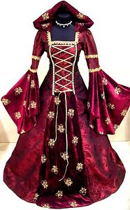 MEDIEVAL-DRESS-WEDDING-RENAISSANCE-GOTH-10-12-14-S-M-RED-GOLD-WITCH-COSTUME-ROBE