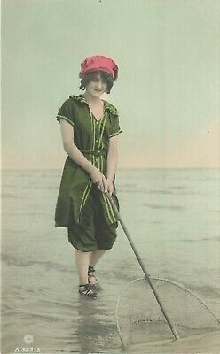 Hand-Colored RPPC Pretty Woman in Old Fashioned Swimsuit w Fishing Net, Pinup - Old Fashioned Swim Suit