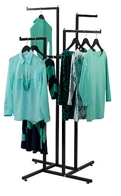 Clothing Rack 4 Way Straight Arms Black Clothes Adjustable Garment Retail 4-way