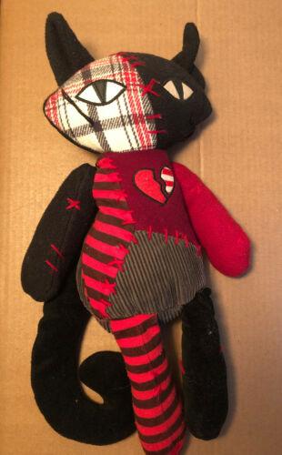 Emily the Strange Plush Broken Heart Patchwork Cat Kitty Free Shipping