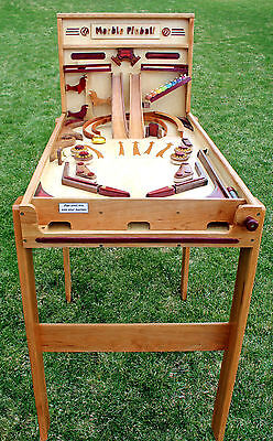 Woodworking plan for a Marble Pinball machine.  Like marble drops.