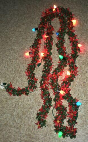 15 FT STRAND VTG CHRISTMAS RED GREEN HOLLY LEAF BERRY PLASTIC GARLAND LIGHTS UP
