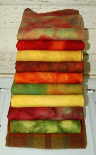 """HAND DYED RUG HOOKING WOOL Spot-Dyed ~ """"AUTUMN GLORY"""" {10-Piece- Collection}"""