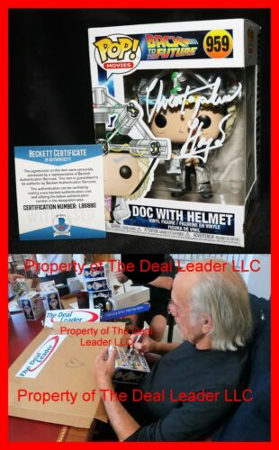 🔥 Christopher Lloyd Signed Doc With Helmet Back To Future Funko POP Beckett 959