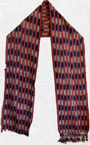 Beautiful Rare Early 20th Century Ikat Guatemalan Woven Stripped Cotton Belt