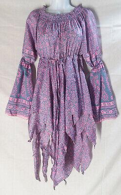 Gypsy Fairy Pixie Renaissance Costume Vintage Silk Dress Top Blouse - Fairy Renaissance Costumes