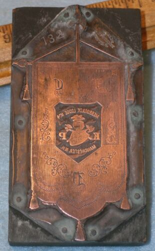 MANCHESTER NH Merrimack Lodge KNIGHTS PYTHIAS BANNER Copper Printing Block MB051