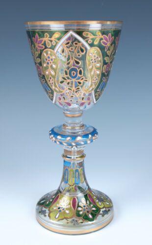 Large Fritz Heckert Enameled Glass Goblet Jodhpur Antique Bohemian Persian #1