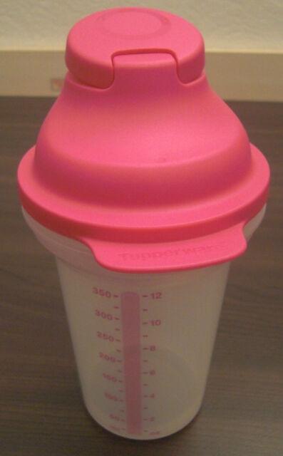 Tupperware D 214 Shake it Mixbecher Meßbecher Shaker 350 ml Klar / Rosa Pink Neu
