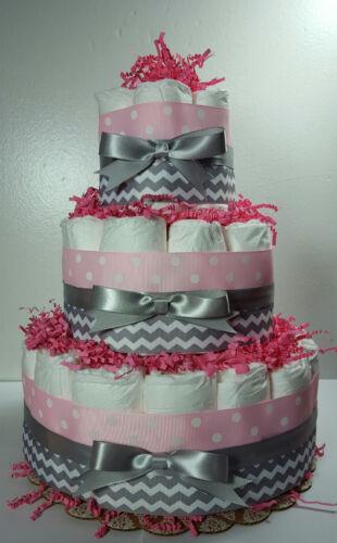 3 Tier Diaper Cake Pink/Silver Chevron - Baby Girl Baby Shower Centerpiece
