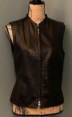 CASLON Women's Sz S Leather Vest Black Lamb Skin Lined Dual Zip Moto Soft -