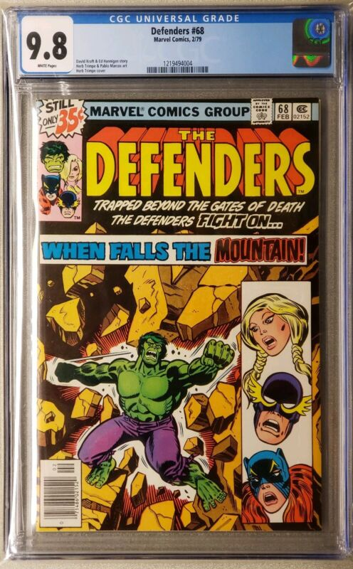 Defenders #68 cgc 9.8  White Pages Hulk