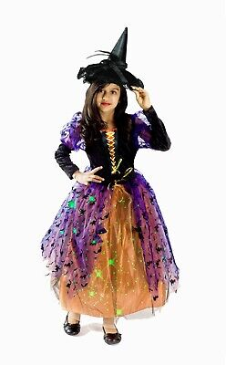 Children Witch Costumes (Witch Costume Girls light up kids glowing Size S M L 4-6 6-8 8-10 black)
