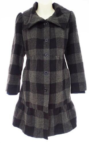 Size Large Womens BLACK/GRAY PLAID WOOL-BLEND MATERNITY COAT Lined Jacket Winter