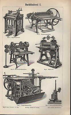 Lithografie 1895: Buch-Binderei I/II. Walz-Werk Falz-Maschine Kreis-Schere Techn
