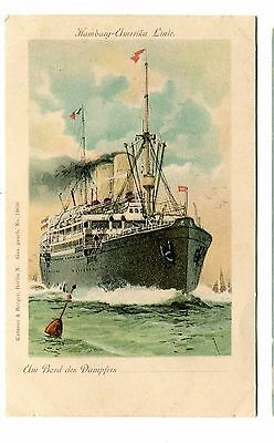 Vintage Postcard Cruise Line HAMBURG AMERIKA on bord des Dampfers UDB unused