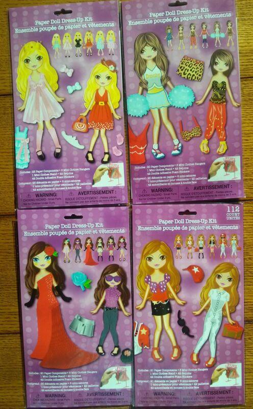 Paper Dolls Dress-Up Kit Lot Hangers Sequins Bling Clothes Rack Kid Play Set 4X