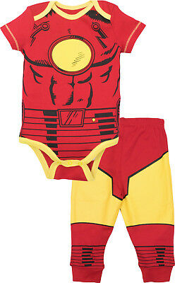 Marvel Comics AVENGERS IRONMAN BABY TODDLER BODYSUIT & PANT SET Superhero PJs - Iron Man Baby