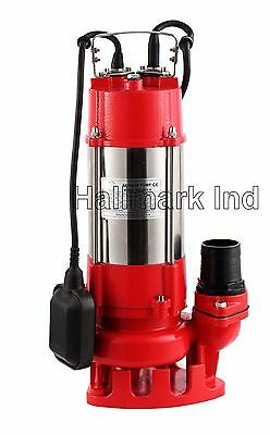 Sewage Pump, SS 1HP 115V, 49' Lift, Max 7250 GPH. 20' Cable & Plug, Heavy Duty