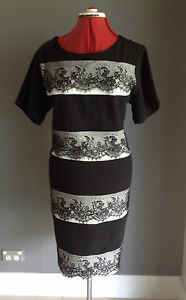 CHIC LIZ JORDON BLACK BLACK & WHITE LAYERED LACE DRESS. PLUS SIZE 18 RRP$190