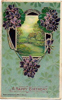 Cottage by a Creek with Violet Flowers 1912 Heymenn Embossed Vintage Postcard