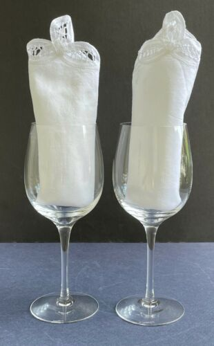 """Two Vintage Tiffany & Co. Crystal Chardonnay Wine Glasses Goblets 8 1/4"""" Tall"""