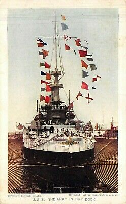 USS INDIANA in dry dock -  JAMESTOWN EXPOSITION Souvenir POSTCARD