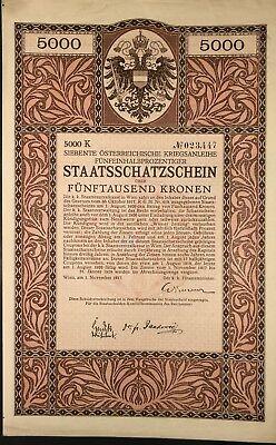 Siebente Österreichische Kriegsanleihe, 5000 Kronen, Wien 1917, Jugendstil