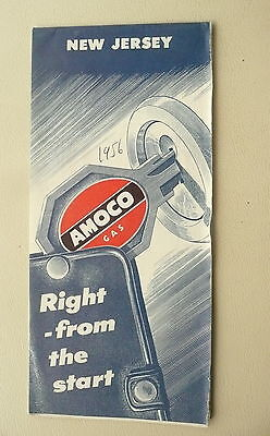 1956 New Jersey  road   map Amoco Oil gas