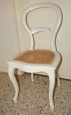 Louis Philippe Stuhl (Antiker Stuhl mit geflochtener Sitzfläche Louis Philippe weiß)