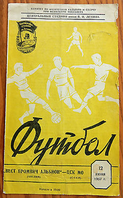 CDSA Moscow v West Bromwich Albion 12/06/1957 programme Russian Red Army D Kevan
