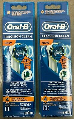 8 BRAUN ORAL B PRECISION CLEAN TOOTHBRUSH REPLACEMENT BRUSH HEADS EB20-4 8X Clean Replacement Brush Heads
