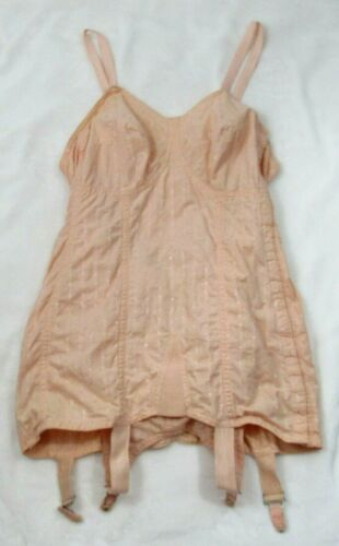 Vintage Peach Full Body Corset, Girdle, Bustier, Boning, Garters BB