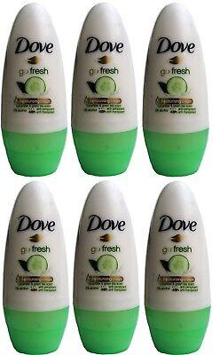 6 x Dove Go Fresh Cucumber Green Tea Roll-On Deodorant - 50mL 100% Brand -