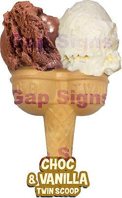 "Ice Cream Van Sticker Twin Hard Scoop 6"" Choc & Vanilla"